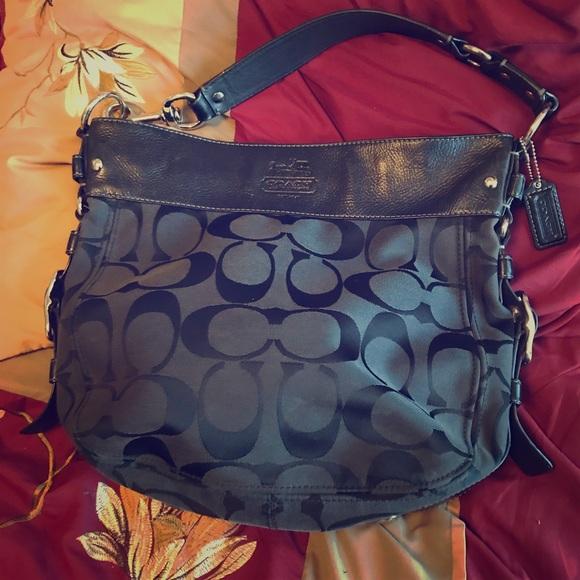 7d46155e0d17 Used Large Canvas leather Black coach purse